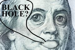 "Big-eyed Benjamin Franklin's face with a hundred-dollar bill says ""Black hole?"", Symbol of surprise, appreciation,. Devaluation, close-up vector illustration"