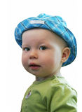 The big-eyed child looks at us. Attentively Royalty Free Stock Photo