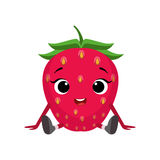 Big Eyed Cute Girly Strawberry Character Sitting, Emoji Sticker With Baby Berry Stock Image