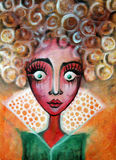 Big eyed girl. Portrait of a big eyed girl with curly hair. Painting Stock Photo
