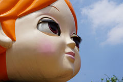 Big eyes doll head Royalty Free Stock Images