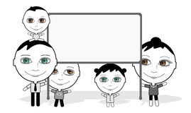 Big eyes family & board Stock Photo