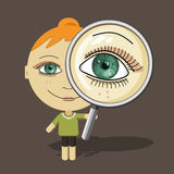 Big eyes girl & magnifier. Vector and designed characters - looking & magnifying theme Stock Photos