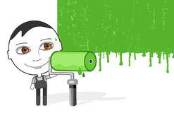 Big eyes man & green paint Stock Images
