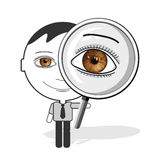Big eyes man & magnifier Royalty Free Stock Photos