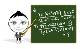 Big eyes maths teacher Stock Image