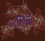 Big eyes owls family at night Stock Image