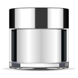 Big face cream jar. Big glass face cream jar with metallic cap Royalty Free Stock Image