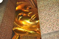 Big Face Gold Buddha Thailand Stock Photo