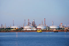 Big factory in Spain. Factory chemical and petrochemical industry by night in Spain Stock Images