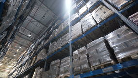 Big factory warehouse. store Aisles. Camera travels inside a large store stock video footage