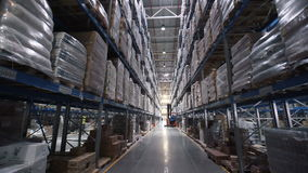 Big factory warehouse. store Aisles. Camera travels inside a large store stock video
