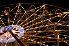 Big Fairy Ferris Wheel at Amusement Park At Night Stock Photography