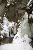Big Falcon ravine in Slovak Paradise National park in winter, Slovakia stock photos