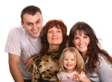 Big family. Mother, father, grandmother and baby Stock Images