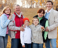 Big family in autumn park Royalty Free Stock Photography