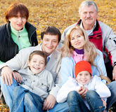 Big family in autumn park Stock Photo