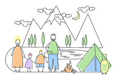 Big Family Camping Tourism Parents With Two Children Stock Photo