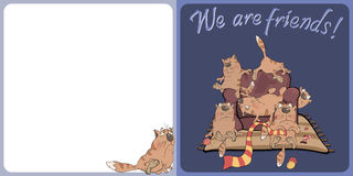 The big family of cats postcard Royalty Free Stock Photo