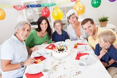 Big family celebrating birthday together Stock Images