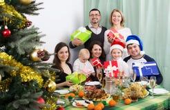 Big family celebrating Merry Christmas Stock Photos