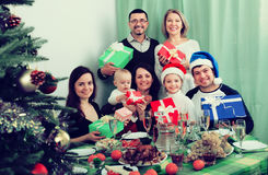 Big family celebrating Merry Christmas Royalty Free Stock Photos