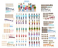 Big family character set for the animation. With various views, hairstyle, emotion, pose and gesture. African american mother, father and children. Isolated stock illustration