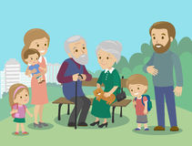Big family characters with mother father grandmother grandfather kids baby child set. Vector. Familiar meeting in the Stock Photo