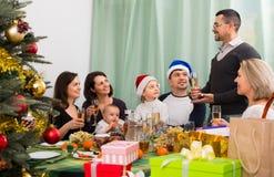 Big family with children celebrates Christmas Stock Photo