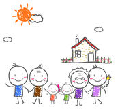 Big family with children Stock Photo