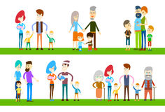 Big Family Children Parents Grandparents Generation Stock Photo