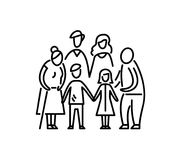 Big family children parents and grandparents Relationship mother father kids grandfather and grandmother Stock Images