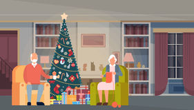 Big Family Christmas Green Tree With Gift Box House Interior Decoration Happy New Year Banner Royalty Free Stock Photography