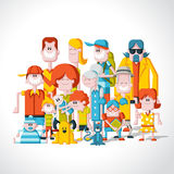 Big family. Colorful happy cartoon People. Big family Royalty Free Stock Photo