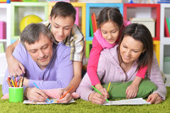 Big family drawing pictures Stock Photo