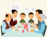 Big family eating. Vector illustration of a big family eating Stock Images