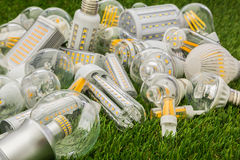 Big family of ecco LED bulbs of various types Stock Images
