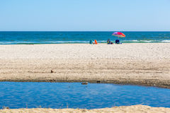 A big family enjoying the holidays in one nice blue water beach in Baja California Stock Photos