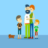 Big Family Father Mother Two Children Sons Flat Royalty Free Stock Photography