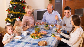 Big family at festive table Stock Photography