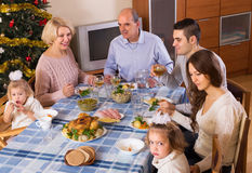 Big family at festive table Stock Images
