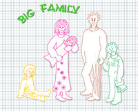 Big family of five people of linea.  vector  illustration Royalty Free Stock Photography