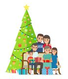 Big Family Gathered Near Christmas Tree with Gifts. Big family gathered near decorated Christmas tree on bench to exchange presents in big boxes tied with bows Stock Photo