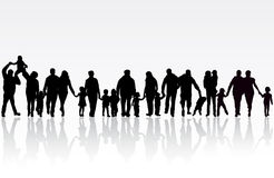 Big family. Happy people silhouettes Stock Photography