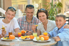 Big family having breakfast Stock Photography