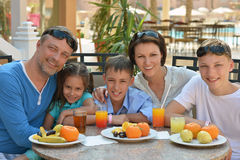 Big family having breakfast Stock Photos