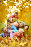 Big family having fun. Together in autumnal park stock photography