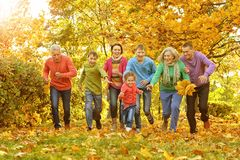 Big family having fun. Together in autumnal park royalty free stock image