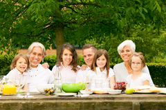 Big Family Having A Picnic In The Garden Stock Photos