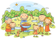 Big family having picnic. Outdoors stock illustration
